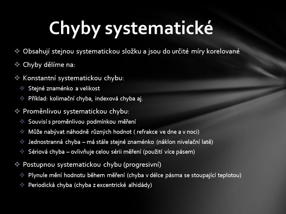  Obsahují stejnou systematickou složku a jsou do určité míry korelované  Chyby dělíme na:  Konstantní systematickou chybu:  Stejné znaménko a velikost  Příklad: kolimační chyba, indexová chyba aj.