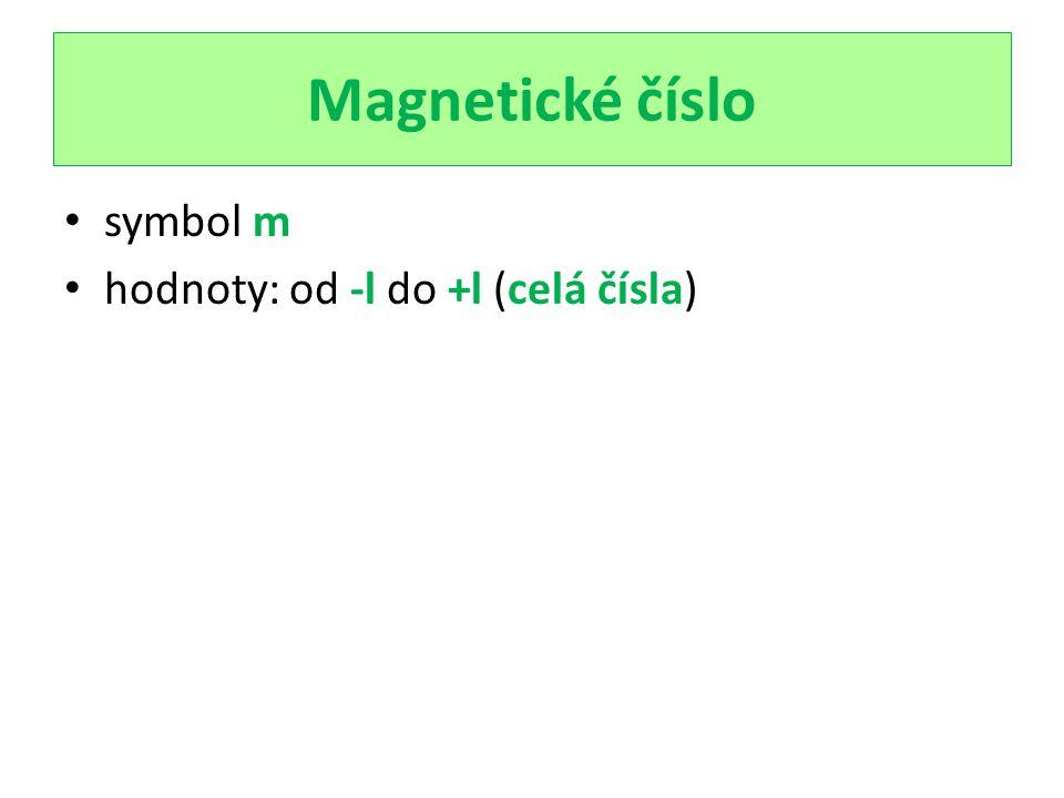 Magnetické číslo symbol m hodnoty: od -l do +l (celá čísla)