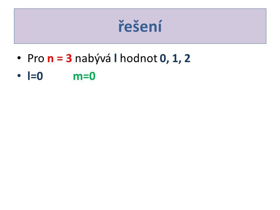 řešení Pro n = 3 nabývá l hodnot 0, 1, 2 l=0m=0