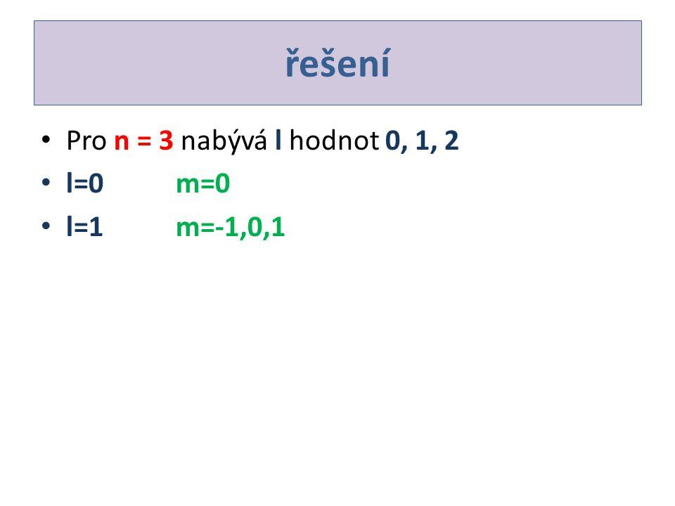 řešení Pro n = 3 nabývá l hodnot 0, 1, 2 l=0m=0 l=1m=-1,0,1