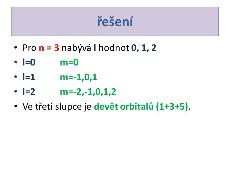 řešení Pro n = 3 nabývá l hodnot 0, 1, 2 l=0m=0 l=1m=-1,0,1 l=2m=-2,-1,0,1,2 Ve třetí slupce je devět orbitalů (1+3+5).