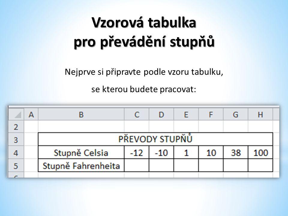 Vzorová tabulka pro převádění stupňů Nejprve si připravte podle vzoru tabulku, se kterou budete pracovat: