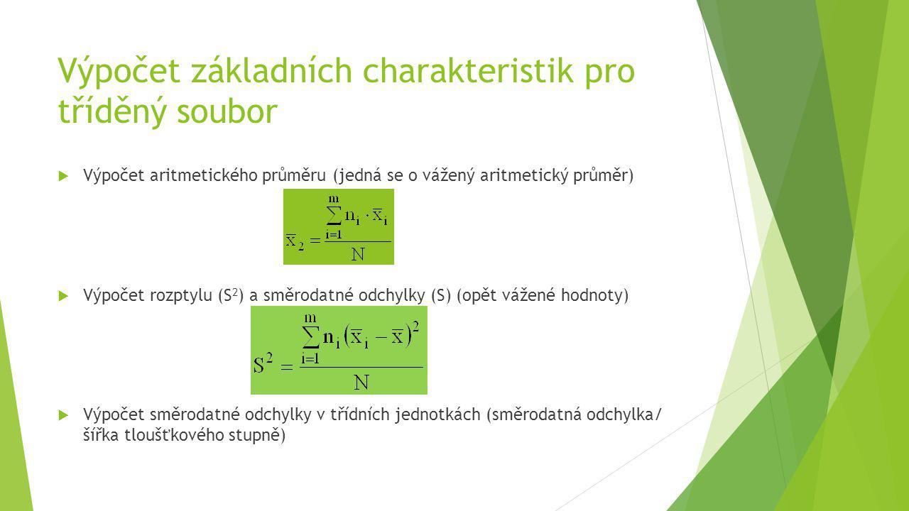 Výpočet základních charakteristik pro tříděný soubor  Výpočet aritmetického průměru (jedná se o vážený aritmetický průměr)  Výpočet rozptylu (S 2 )