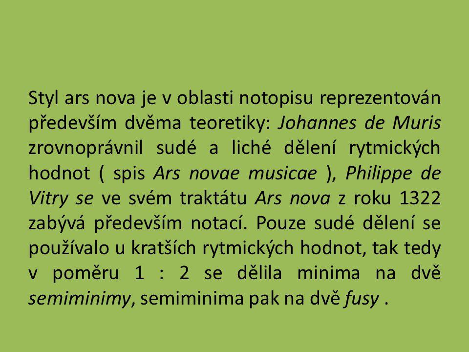 Styl ars nova je v oblasti notopisu reprezentován především dvěma teoretiky: Johannes de Muris zrovnoprávnil sudé a liché dělení rytmických hodnot ( spis Ars novae musicae ), Philippe de Vitry se ve svém traktátu Ars nova z roku 1322 zabývá především notací.