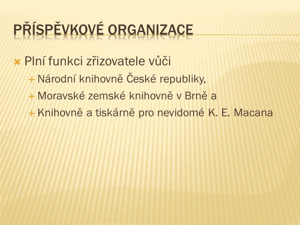  Plní funkci zřizovatele vůči  Národní knihovně České republiky,  Moravské zemské knihovně v Brně a  Knihovně a tiskárně pro nevidomé K.