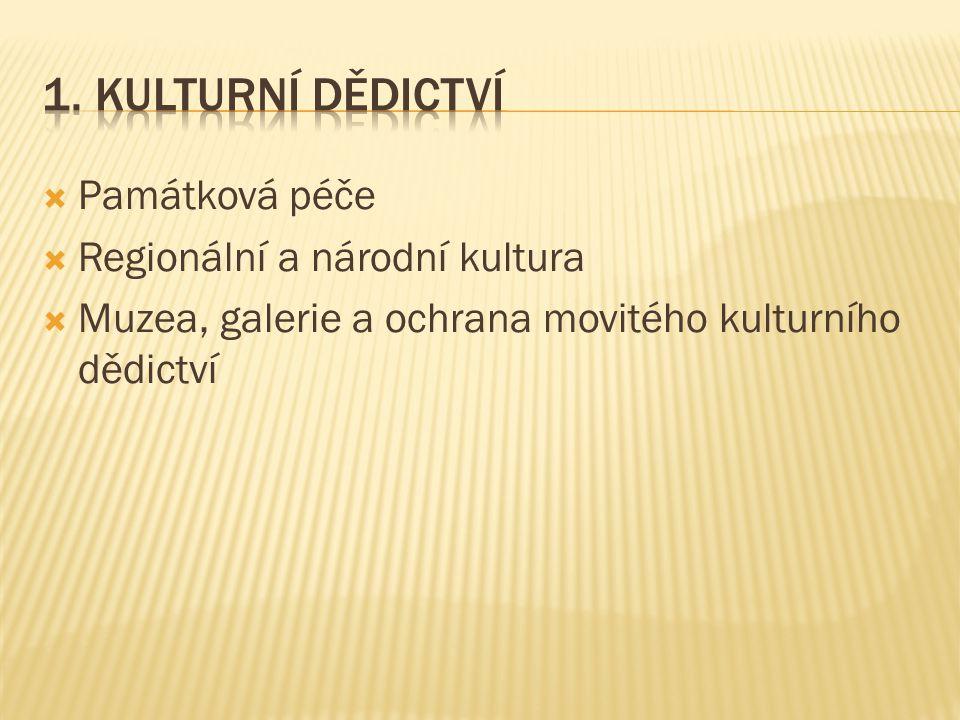  Památková péče  Regionální a národní kultura  Muzea, galerie a ochrana movitého kulturního dědictví