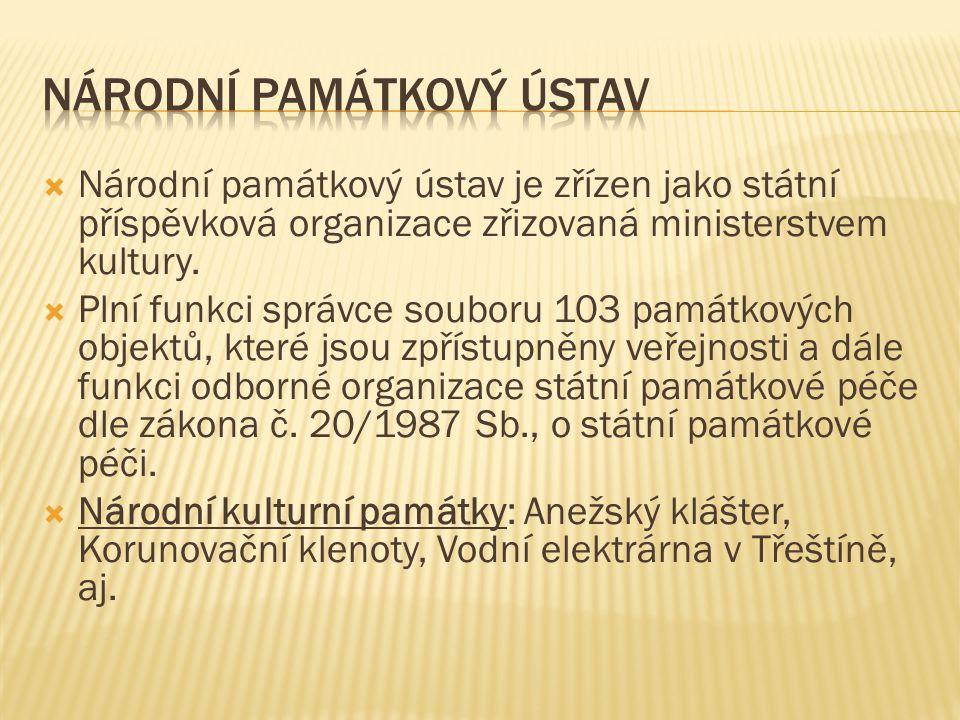  Národní památkový ústav je zřízen jako státní příspěvková organizace zřizovaná ministerstvem kultury.