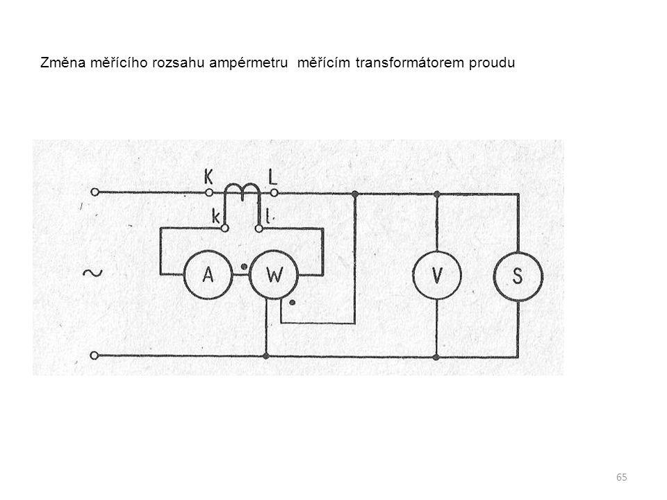 Změna měřícího rozsahu ampérmetru měřícím transformátorem proudu 65