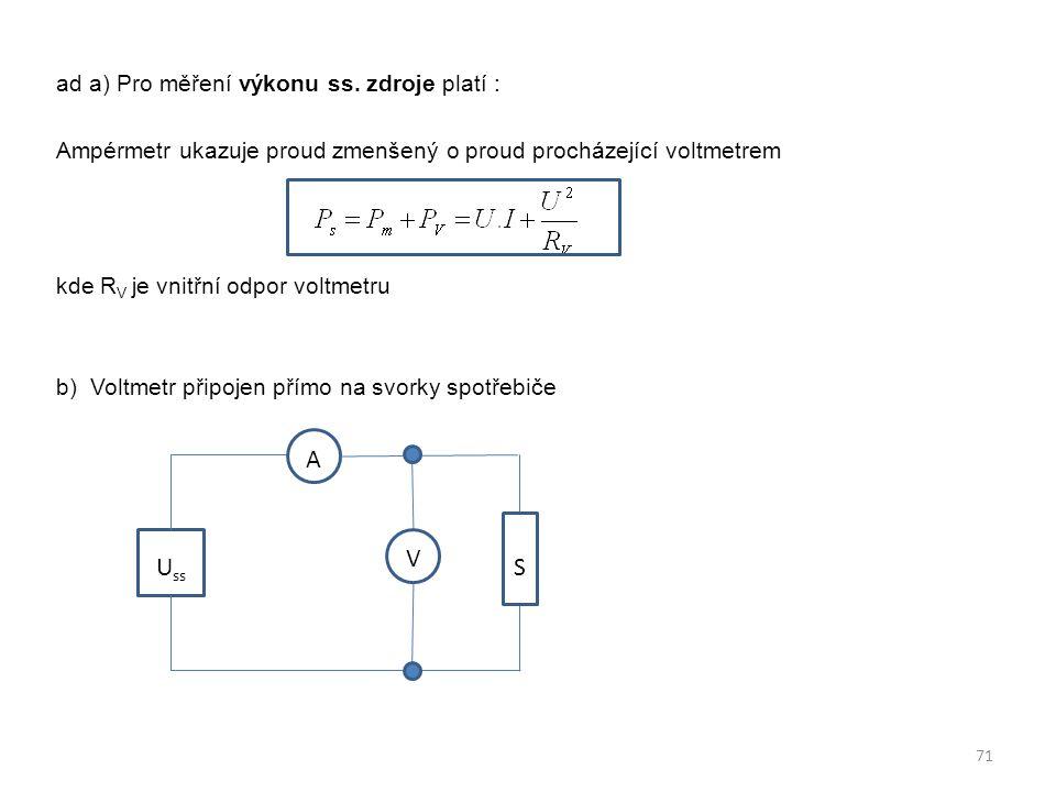 ad a) Pro měření výkonu ss. zdroje platí : Ampérmetr ukazuje proud zmenšený o proud procházející voltmetrem kde R V je vnitřní odpor voltmetru b) Volt