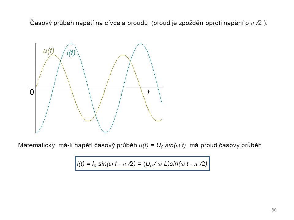 Časový průběh napětí na cívce a proudu (proud je zpožděn oproti napění o π /2 ): Matematicky: má-li napětí časový průběh u(t) = U 0 sin( ω t), má prou
