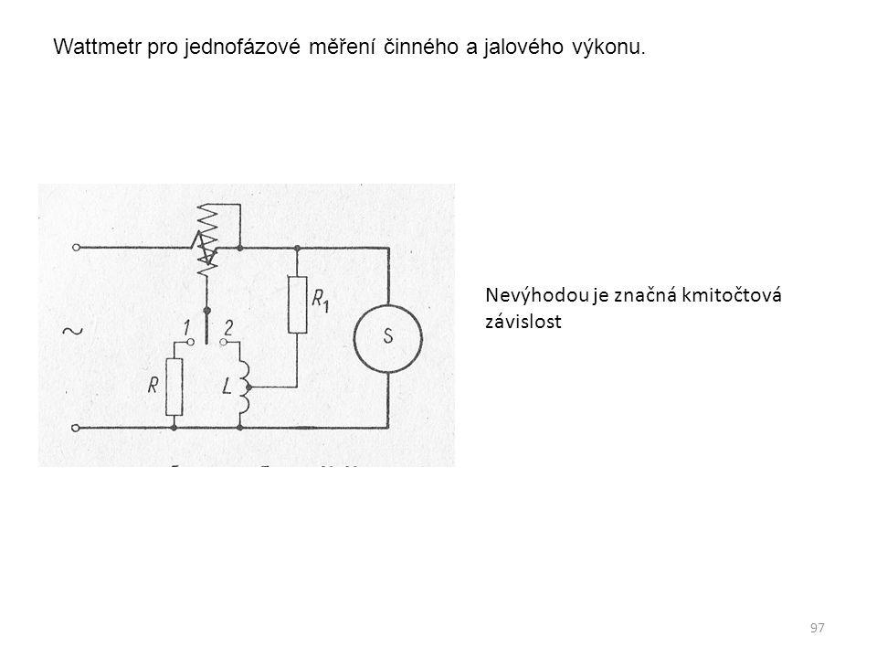 Wattmetr pro jednofázové měření činného a jalového výkonu. Nevýhodou je značná kmitočtová závislost 97