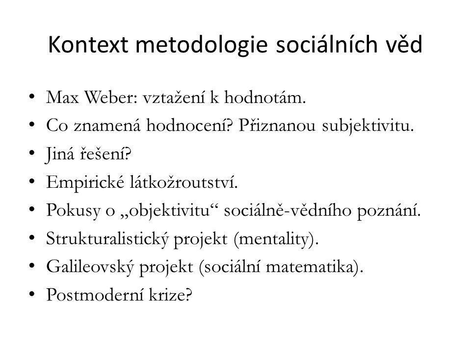 Kontext metodologie sociálních věd Max Weber: vztažení k hodnotám.