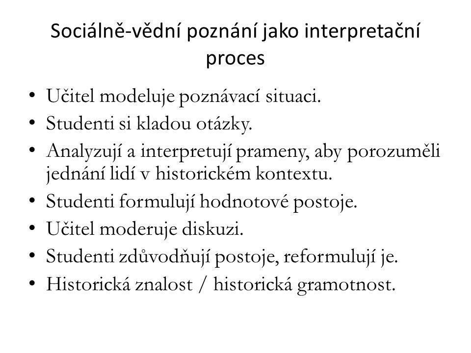 Sociálně-vědní poznání jako interpretační proces Učitel modeluje poznávací situaci.