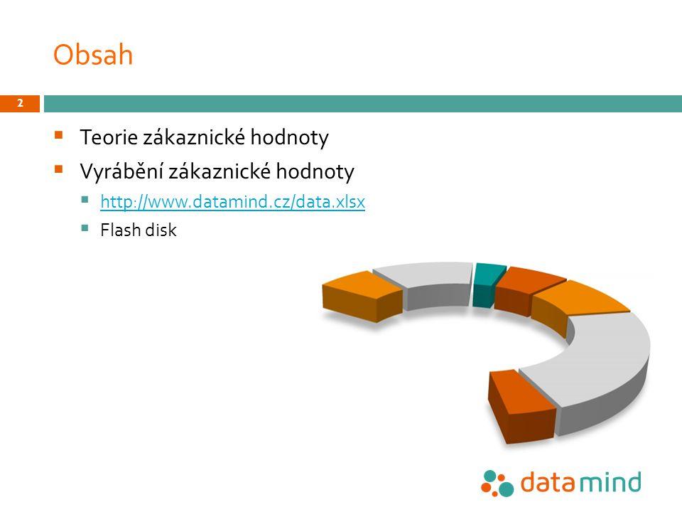 Obsah  Teorie zákaznické hodnoty  Vyrábění zákaznické hodnoty  http://www.datamind.cz/data.xlsx http://www.datamind.cz/data.xlsx  Flash disk 2