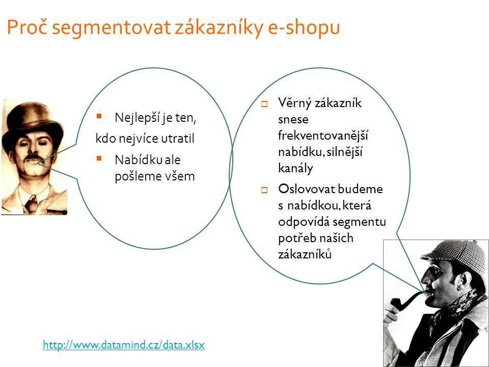 Proč segmentovat zákazníky e-shopu  Nejlepší je ten, kdo nejvíce utratil  Nabídku ale pošleme všem  Věrný zákazník snese frekventovanější nabídku, silnější kanály  Oslovovat budeme s nabídkou, která odpovídá segmentu potřeb našich zákazníků http://www.datamind.cz/data.xlsx