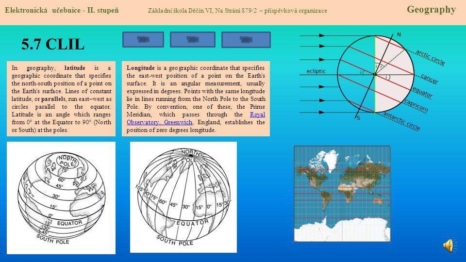 5.7 CLIL Elektronická učebnice - II. stupeň Základní škola Děčín VI, Na Stráni 879/2 – příspěvková organizace Geography In geography, latitude is a ge