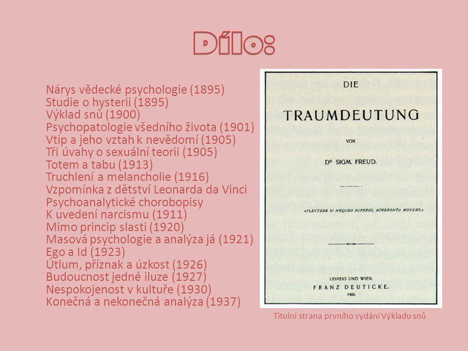 Nárys vědecké psychologie (1895) Studie o hysterii (1895) Výklad snů (1900) Psychopatologie všedního života (1901) Vtip a jeho vztah k nevědomí (1905) Tři úvahy o sexuální teorii (1905) Totem a tabu (1913) Truchlení a melancholie (1916) Vzpomínka z dětství Leonarda da Vinci Psychoanalytické chorobopisy K uvedení narcismu (1911) Mimo princip slasti (1920) Masová psychologie a analýza já (1921) Ego a Id (1923) Útlum, příznak a úzkost (1926) Budoucnost jedné iluze (1927) Nespokojenost v kultuře (1930) Konečná a nekonečná analýza (1937) Titulní strana prvního vydání Výkladu snů