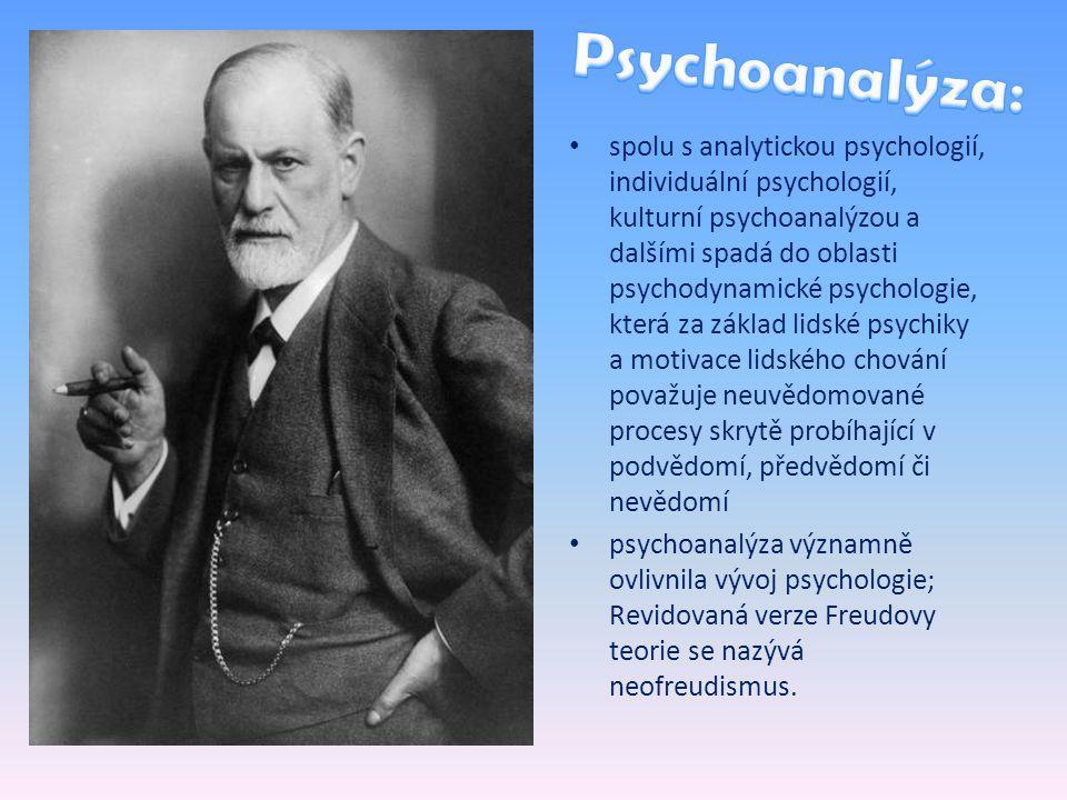 spolu s analytickou psychologií, individuální psychologií, kulturní psychoanalýzou a dalšími spadá do oblasti psychodynamické psychologie, která za základ lidské psychiky a motivace lidského chování považuje neuvědomované procesy skrytě probíhající v podvědomí, předvědomí či nevědomí psychoanalýza významně ovlivnila vývoj psychologie; Revidovaná verze Freudovy teorie se nazývá neofreudismus.