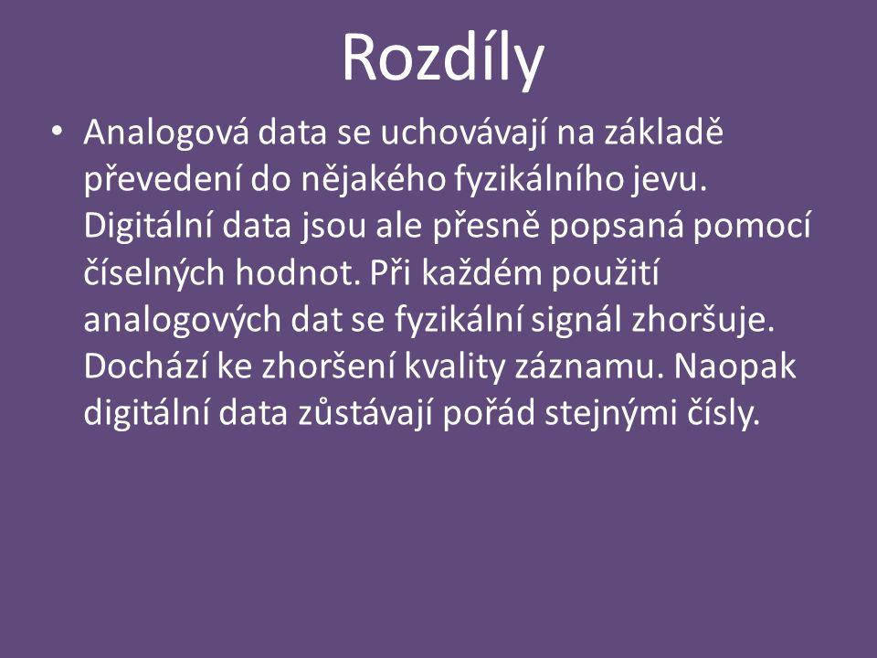 Rozdíly Analogová data se uchovávají na základě převedení do nějakého fyzikálního jevu. Digitální data jsou ale přesně popsaná pomocí číselných hodnot