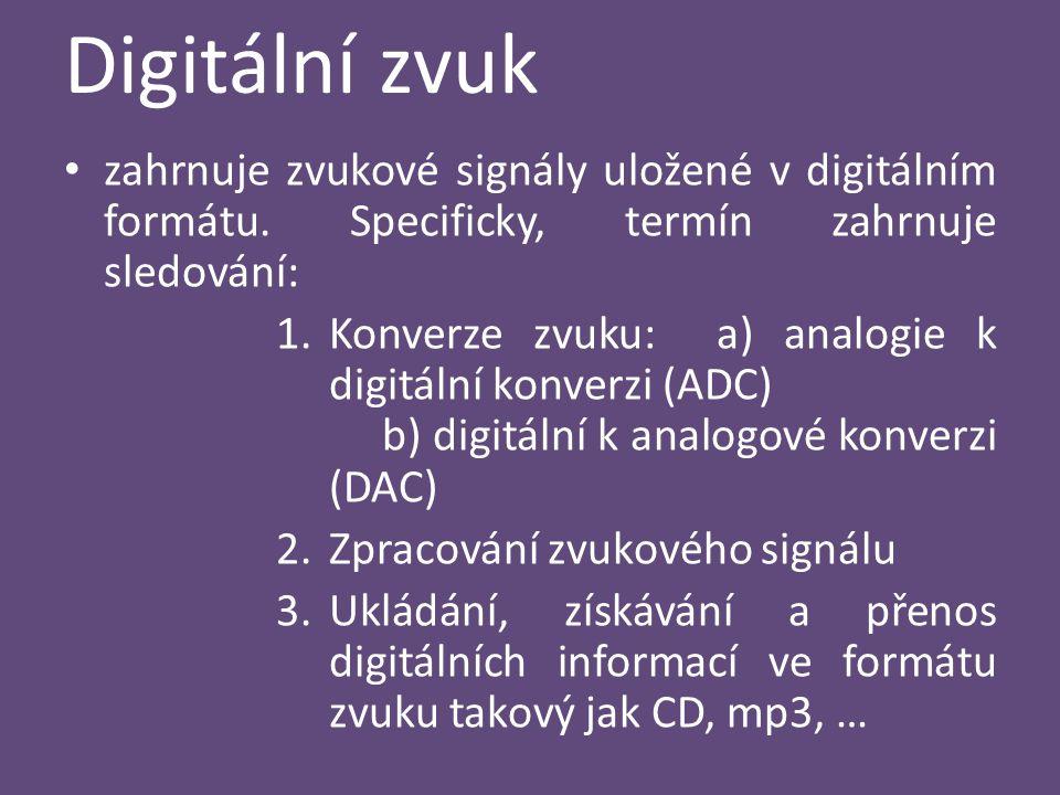 Digitální zvuk zahrnuje zvukové signály uložené v digitálním formátu. Specificky, termín zahrnuje sledování: 1.Konverze zvuku: a) analogie k digitální