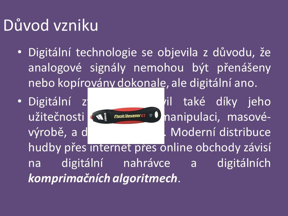 Důvod vzniku Digitální technologie se objevila z důvodu, že analogové signály nemohou být přenášeny nebo kopírovány dokonale, ale digitální ano. Digit