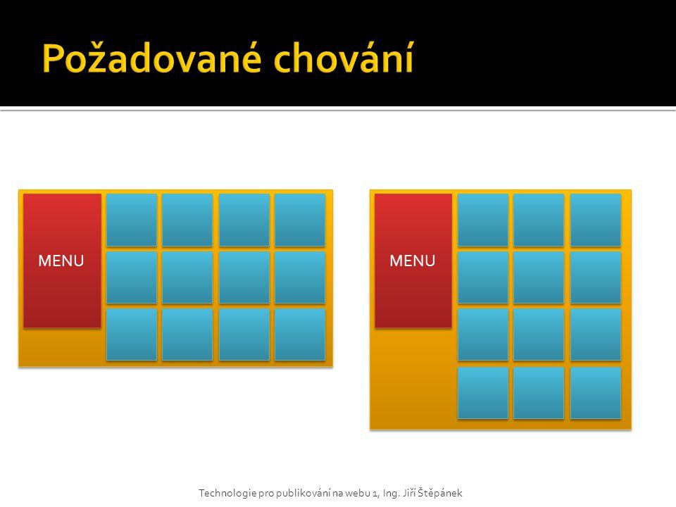 Technologie pro publikování na webu 1, Ing. Jiří Štěpánek MENU