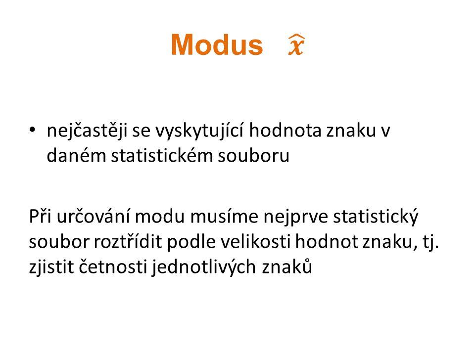 nejčastěji se vyskytující hodnota znaku v daném statistickém souboru Při určování modu musíme nejprve statistický soubor roztřídit podle velikosti hod