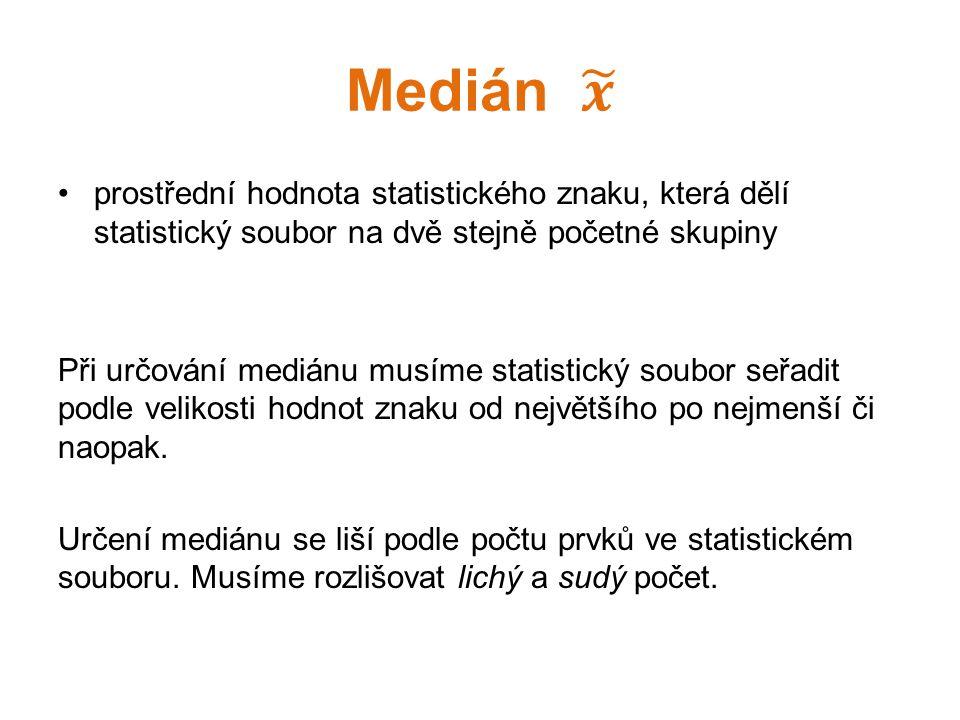 prostřední hodnota statistického znaku, která dělí statistický soubor na dvě stejně početné skupiny Při určování mediánu musíme statistický soubor seř