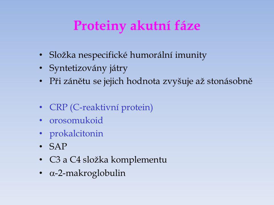 Vyšetření CRP Stanovení CRP nefelometricky či turmidimetricky Akutní záněty (diagnostika bakteriální a virové infekce) Autoimunitní onemocnění (prognostický význam) Pooperační stavy