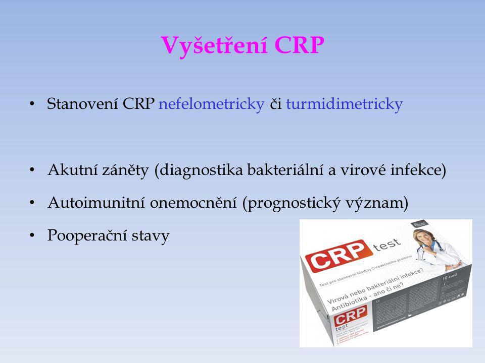 Stanovení cytokinů Stanovují se: IL-6, IL-8, TNF (ELISA) Interleukin-6 při podezření na sepsi, trauma, srdeční selhání Interleukin-8 při podezření na sepsi, v bronchoalveolární laváži pro diagnostiku ARDS (acute respiratory distress syndrome) TNF  marker sepse, odhad rejekce transplantátu