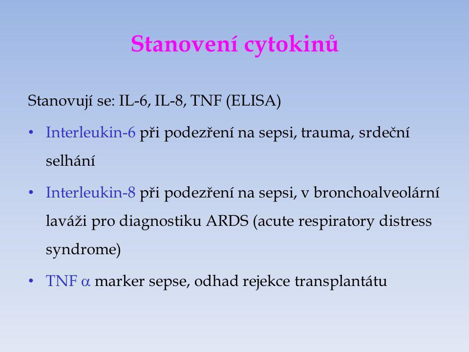 EIA – enzyme immunoassay Dělení EIA metod: a) dle typu enzymu, substrátu a detekce výsledného produktu: ELISA (fotometrická detekce barevného produktu) FEIA (fluorometrická detekce fluorescence výsledného produktu) LEIA (luminometrická detekce světla uvolněného při změně chemické struktury substrátu) b ) dle postupu: heterogenní x homogenní kompetitivní x nekompetitivní