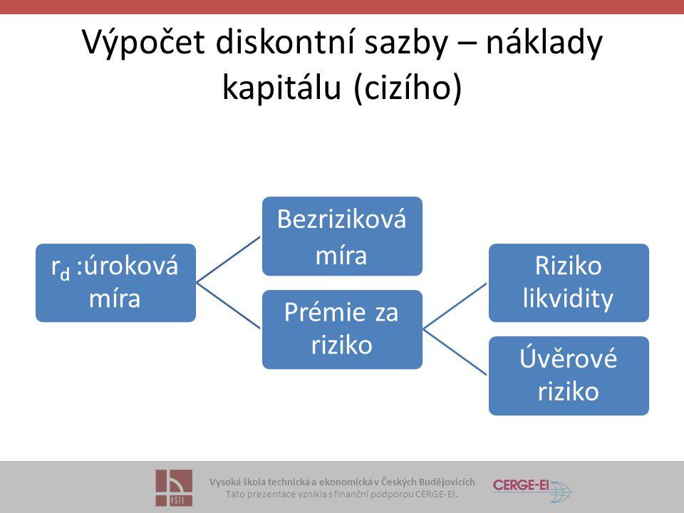Vysoká škola technická a ekonomická v Českých Budějovicích Tato prezentace vznikla s finanční podporou CERGE-EI. Výpočet diskontní sazby – náklady kap