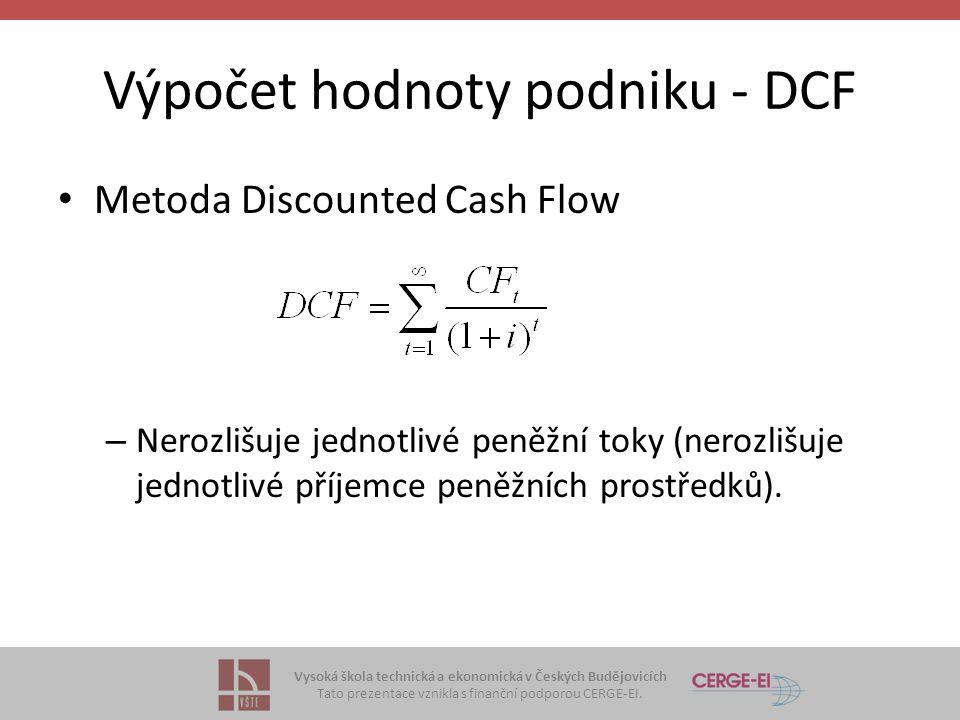 Vysoká škola technická a ekonomická v Českých Budějovicích Tato prezentace vznikla s finanční podporou CERGE-EI. Výpočet hodnoty podniku - DCF Metoda