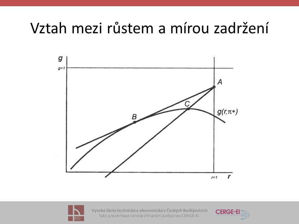 Vysoká škola technická a ekonomická v Českých Budějovicích Tato prezentace vznikla s finanční podporou CERGE-EI. Vztah mezi růstem a mírou zadržení