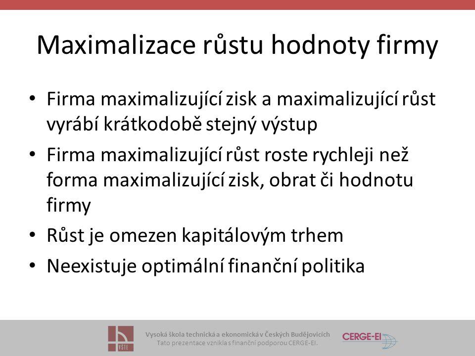 Vysoká škola technická a ekonomická v Českých Budějovicích Tato prezentace vznikla s finanční podporou CERGE-EI. Maximalizace růstu hodnoty firmy Firm