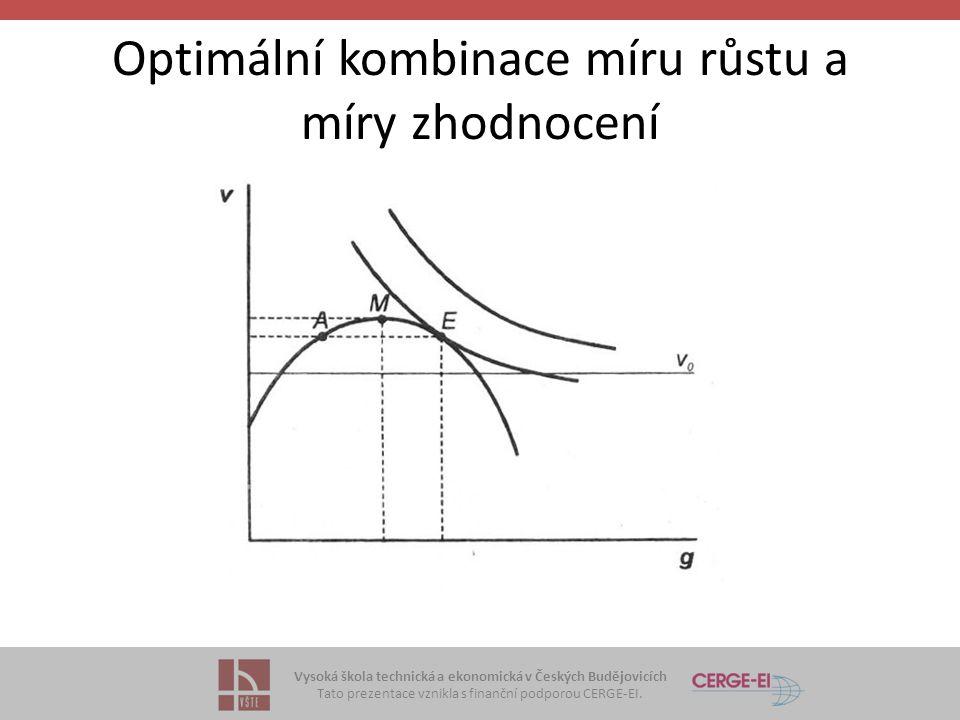Vysoká škola technická a ekonomická v Českých Budějovicích Tato prezentace vznikla s finanční podporou CERGE-EI. Optimální kombinace míru růstu a míry