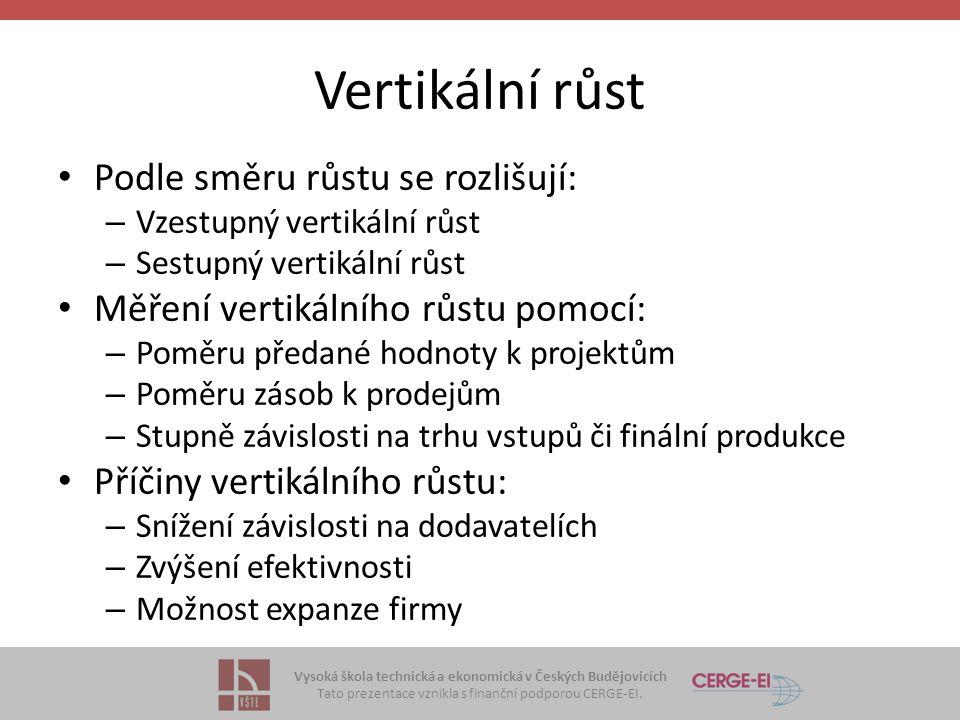 Vysoká škola technická a ekonomická v Českých Budějovicích Tato prezentace vznikla s finanční podporou CERGE-EI. Vertikální růst Podle směru růstu se