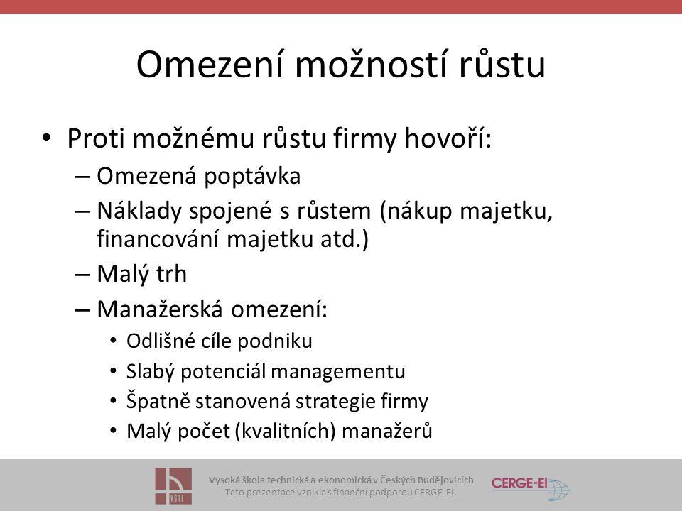 Vysoká škola technická a ekonomická v Českých Budějovicích Tato prezentace vznikla s finanční podporou CERGE-EI. Omezení možností růstu Proti možnému