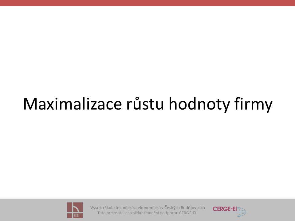 Vysoká škola technická a ekonomická v Českých Budějovicích Tato prezentace vznikla s finanční podporou CERGE-EI. Maximalizace růstu hodnoty firmy