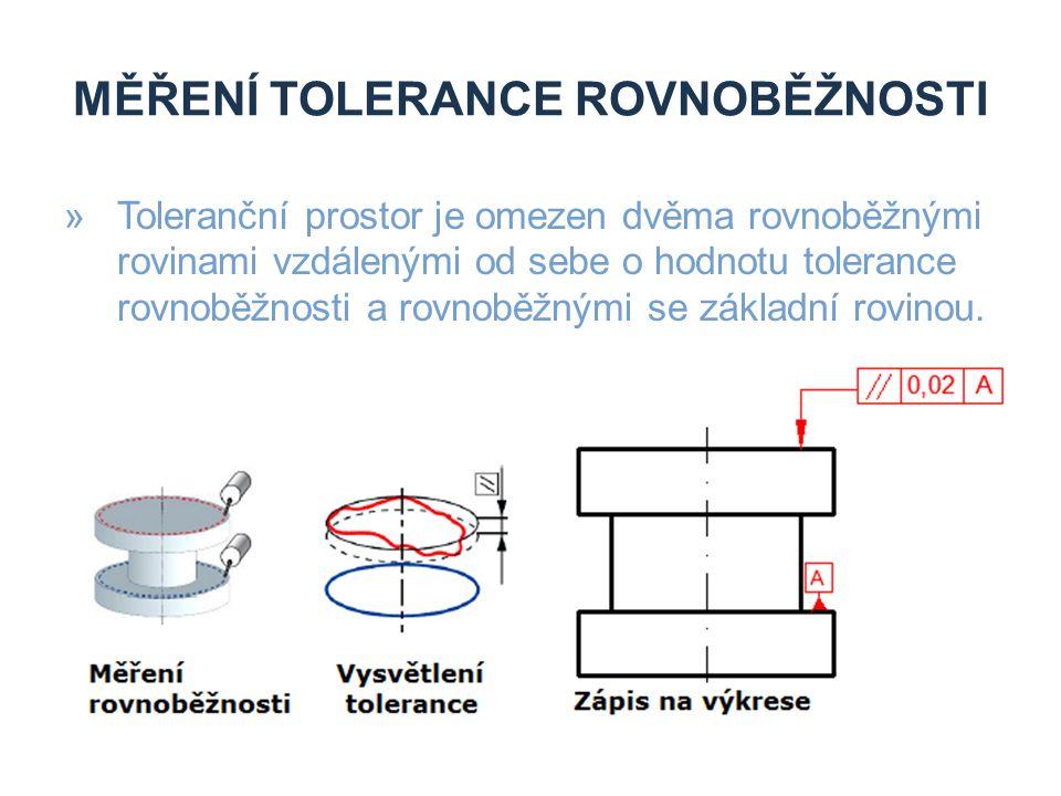 MĚŘENÍ TOLERANCE ROVNOBĚŽNOSTI »Toleranční prostor je omezen dvěma rovnoběžnými rovinami vzdálenými od sebe o hodnotu tolerance rovnoběžnosti a rovnob