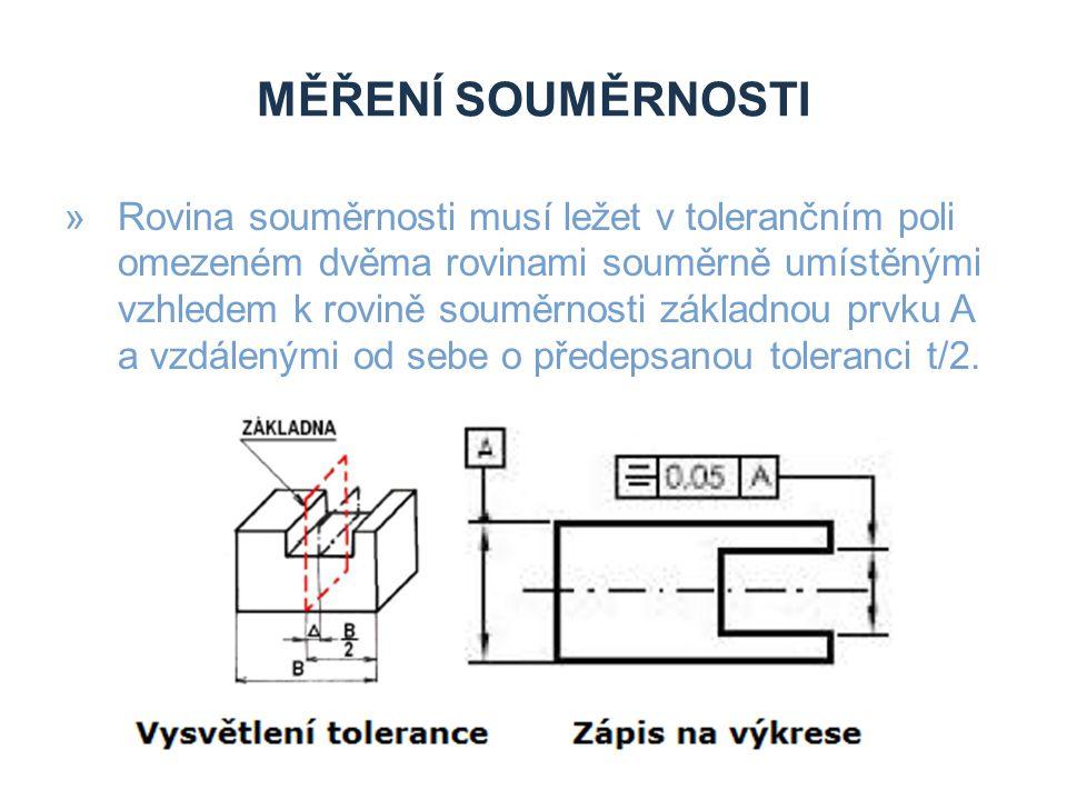 MĚŘENÍ SOUMĚRNOSTI »Rovina souměrnosti musí ležet v tolerančním poli omezeném dvěma rovinami souměrně umístěnými vzhledem k rovině souměrnosti základn