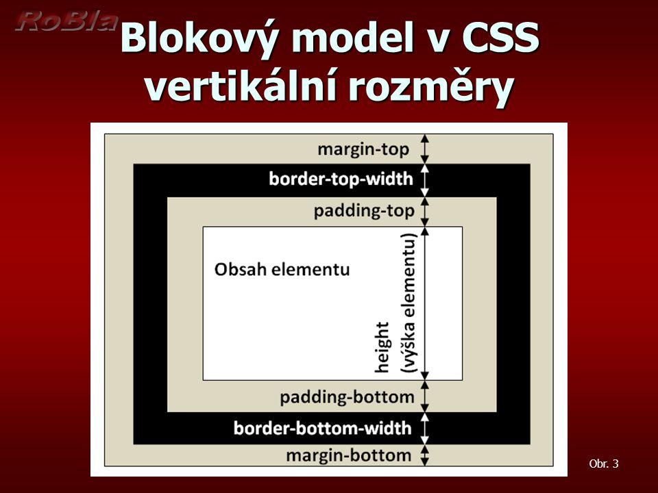 Blokový model v CSS vertikální rozměry Obr. 3