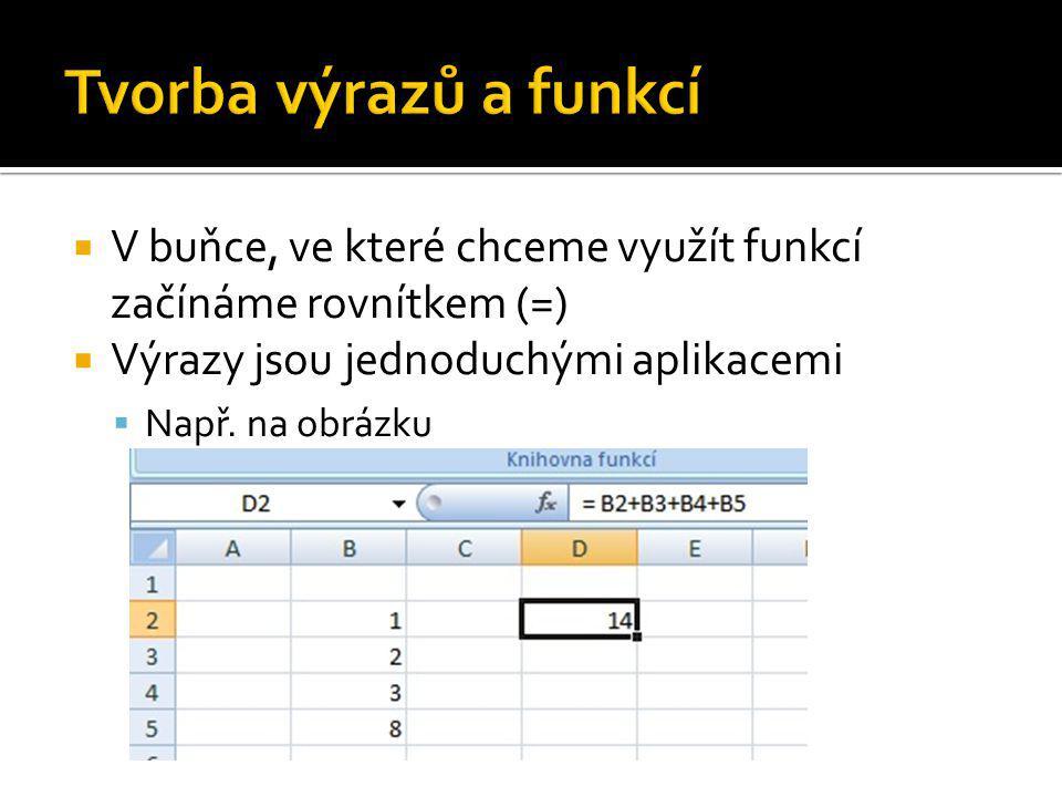  V buňce, ve které chceme využít funkcí začínáme rovnítkem (=)  Výrazy jsou jednoduchými aplikacemi  Např.
