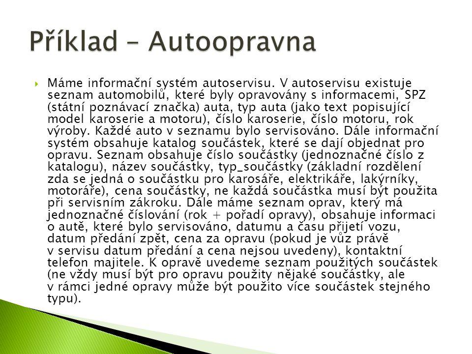  Máme informační systém autoservisu. V autoservisu existuje seznam automobilů, které byly opravovány s informacemi, SPZ (státní poznávací značka) aut