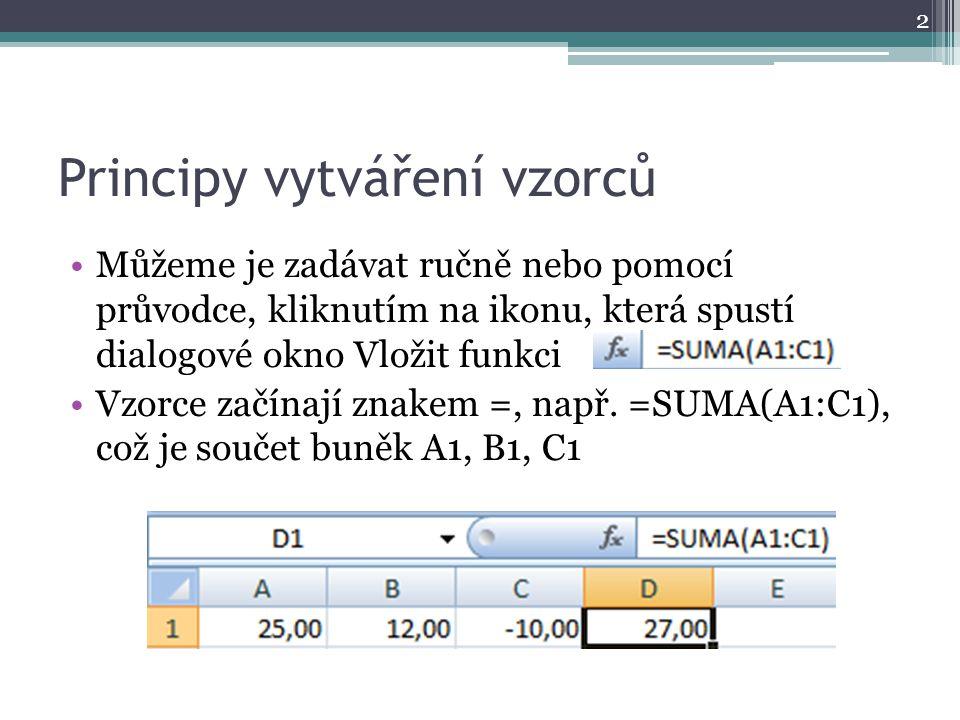Principy vytváření vzorců Můžeme je zadávat ručně nebo pomocí průvodce, kliknutím na ikonu, která spustí dialogové okno Vložit funkci Vzorce začínají znakem =, např.