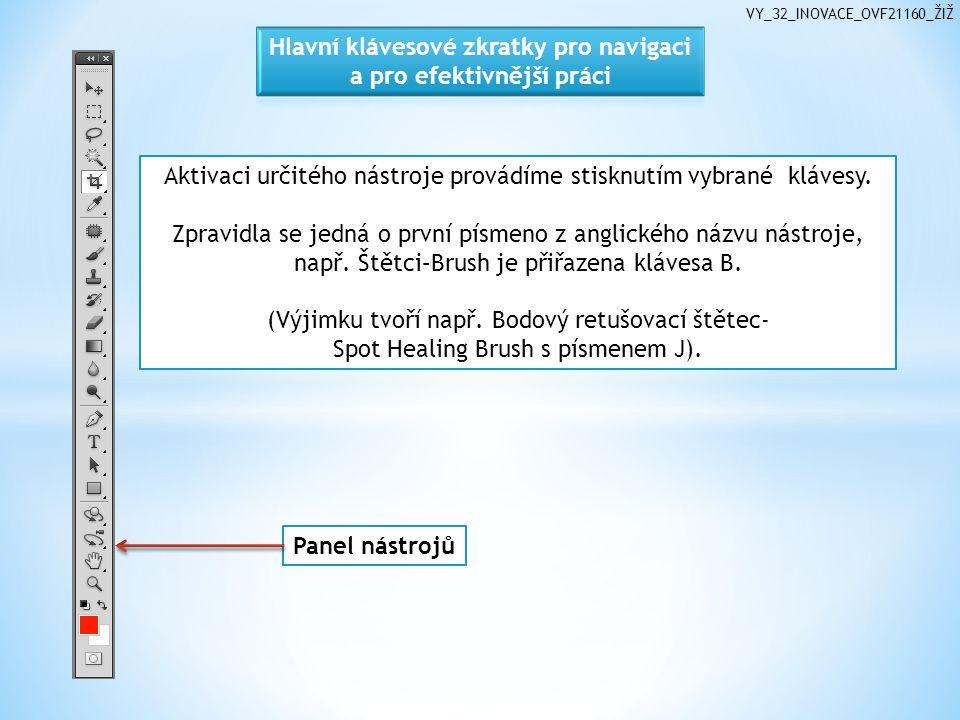 VY_32_INOVACE_OVF21160_ŽIŽ Aktivaci určitého nástroje provádíme stisknutím vybrané klávesy. Zpravidla se jedná o první písmeno z anglického názvu nást