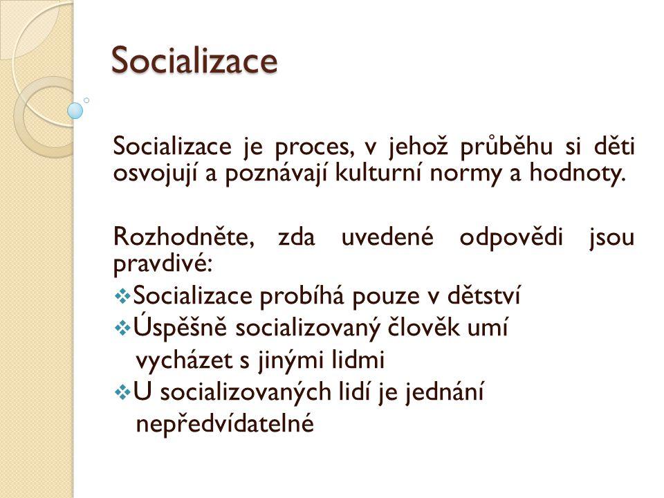 Socializace Socializace je proces, v jehož průběhu si děti osvojují a poznávají kulturní normy a hodnoty.