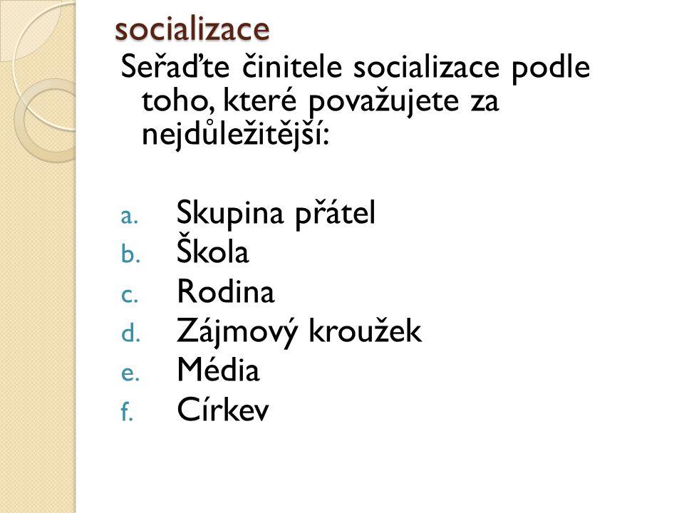 socializace Seřaďte činitele socializace podle toho, které považujete za nejdůležitější: a.