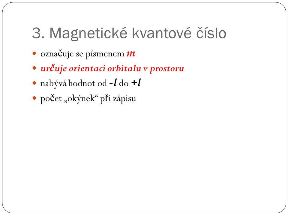 """3. Magnetické kvantové číslo ozna č uje se písmenem m ur č uje orientaci orbitalu v prostoru nabývá hodnot od -l do +l po č et """"okýnek"""" p ř i zápisu"""