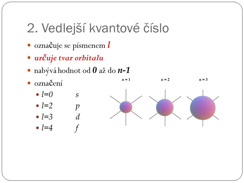 2. Vedlejší kvantové číslo ozna č uje se písmenem l ur č uje tvar orbitalu nabývá hodnot od 0 až do n-1 ozna č ení l=0s l=2p l=3d l=4f
